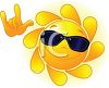 Cute Freckled Sun Wearing Sunglasses clipart