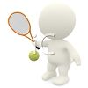 3D Human Figure Hitting a Tennis Ball with a Tennis Racket clipart