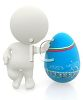 3D Human Figure Leaning on a Dyed Easter Egg clipart