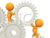 3D Human Figures Working with Cogs and Wheels clipart