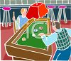 Two Men Playing Pool at a Sports Bar clipart