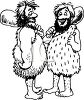 Black and White Cartoon of Two Cavemen with Clubs Talking clipart