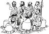 Black and White Cartoon of a Bunch of Cavemen in a Band clipart