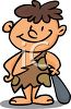 Cartoon of a Little Boy Dressed Up Like a Caveman clipart