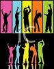 People Silhouettes-Young Men and Women Dancing in Colorful Boxes clipart
