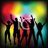 People Silhouettes-People Dancing in Front of Colorful Lights clipart