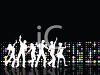 People Silhouettes-Men and Women Dancing in Front of Lights clipart