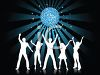 People Silhouettes-Group of People Dancing Under a Disco Ball clipart