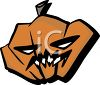 Halloween Graphic Design Element of a Wicked Looking Pumpkin clipart
