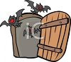 Halloween Graphic Design Element of Bats Flying Out of a Doorway clipart