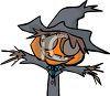 Halloween Graphic Design Element of a Scarecrow Wearing a Witch's Hat clipart