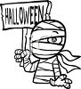 Halloween Graphic Design Element of a Mummy Holding a Sign clipart