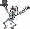 Halloween Graphic of a Dancing Skeleton Holding a Hat clipart