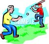 Boy Practicing Baseball with His Dad clipart