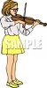 Girl Practicing on Her Violin clipart