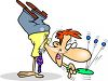 Cartoon of a Man with a Paddle Ball Doing a Handstand clipart
