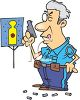 Cartoon of an Old Policeman at Target Practice clipart