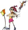 Funny Little Girl at Violin Practice clipart