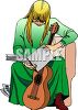 Blond Girl Learning to Play the Guitar clipart