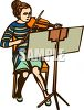 Young Woman Playing the Violin clipart