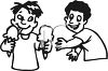 Boy Sharing His Ice Cream Cone with a Friend clipart