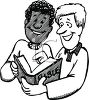 Religious Cartoon of Two Men Sharing from the Bible clipart