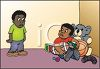 Selfish Black Child Refusing to Share His Toys with Another Boy clipart