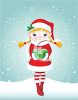 Cute Little Girl Wearing an Elf Costume in the Snow clipart