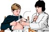 Realistic Lady Doctor Examining a Child clipart