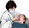 Realistic Female Dentist Examining a Child's Mouth clipart