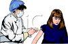 Realistic Woman Doctor Giving a Girl a Shot clipart