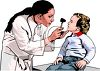 Realistic Female Doctor Examining a Toddler clipart