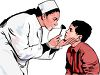 Realistic Female Doctor Examining a Child's Eyes clipart