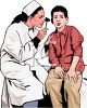 Realistic African American Female Doctor Examining a Child clipart