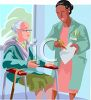 African American Female Doctor Talking to an Elderly Patient at a Nursing Home clipart