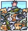 Hand Sticking Out of a Pile of Garbage in a Dump clipart