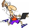 Multi-Tasking Man Jogging, Talking on the Phone and Using His Laptop clipart