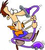 Cartoon of a Guy Fighting with a Vacuum Cleaner clipart