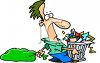 Cartoon of a Man Dragging Out the Garbage on Trash Day clipart