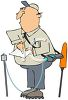 Utilities Worker Checking for Gas Leaks clipart