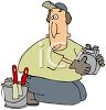 Utilities Worker Installing a Gas Meter clipart
