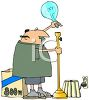 Cartoon of a Fat Husband Replacing a Light Bulb with a Large Wattage clipart