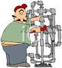 Fat Plumber Cartoon with His Butt Crack Showing clipart