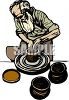 Old Man Potter Making Clay Pots clipart