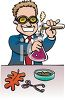 Cartoon of a Chemist or Science Teacher Doing an Experiment clipart