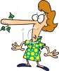 Cartoon of a Woman with Her Nose Growing From Telling Lies clipart