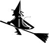 Silhouette of a Witch on Her Broom clipart