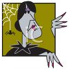 Halloween Cartoon of a Witch with a Spider Dropping Down from His Web clipart