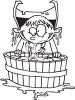 Black and White Cartoon of a Boy Dressed Like a Vampire Bobbing for Apples clipart