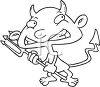 Black and White Cartoon of a Little Devil clipart